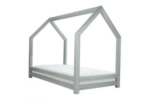 Šedá dětská postel z lakovaného smrkového dřeva Benlemi Funny, 90 x 160 cm Jednolůžkové postele