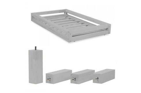 Set šedého šuplíku a prodloužených noh ze smrkového dřeva k posteli Benlemi Funny, 90 x 140 cm Jednolůžkové postele