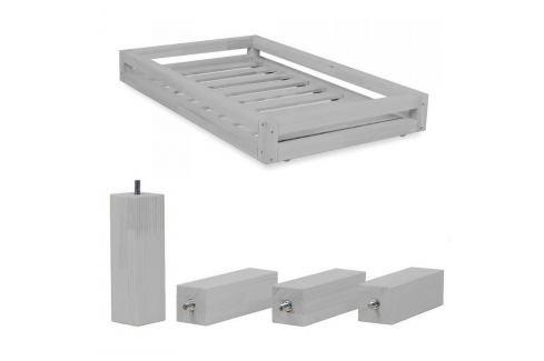 Set šedého šuplíku a prodloužených noh ze smrkového dřeva k posteli Benlemi Funny, 120 x 180 cm Jednolůžkové postele
