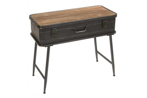 Konzolový stolek z jedlového dřeva a kovu Santiago Pons London Industrial Konferenční apříruční stolky