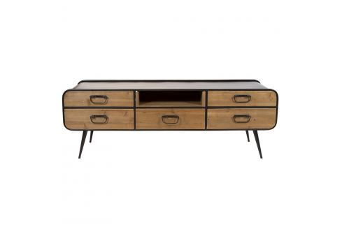 Televizní stolek z laminovaného smrkového dřeva a železa Santiago Pons Curve TV stolky asestavy