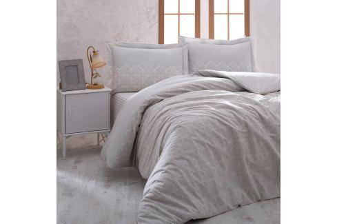Bavlněné povlečení s prostěradlem na jednolůžko Grey Elegance, 160 x 220 cm Povlečení aložní prádlo