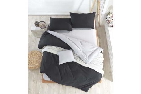 Černo-šedé povlečení s prostěradlem na dvoulůžko Permento Masilana, 200 x 220 cm Povlečení aložní prádlo