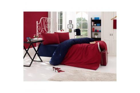 Černo-červené povlečení s prostěradlem na dvoulůžko Permento Daru, 200 x 220 cm Povlečení aložní prádlo