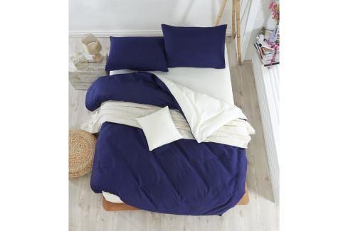 Tmavě modré povlečení s prostěradlem na dvoulůžko Permento Paluma, 200 x 220 cm Povlečení aložní prádlo