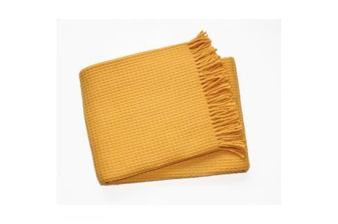 Žlutý pléd s podílem bavlny Euromant Waffle, 140x180cm Polštáře apřehozy