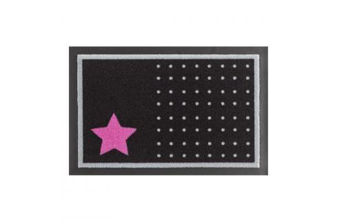 Rohožka Hanse Home Star and Dots Black and Pink, 40x60cm Rohožky